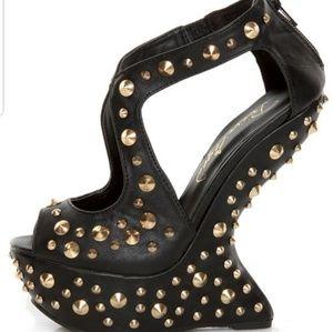 Privileged Karvis Black Studded Heelless Platforms